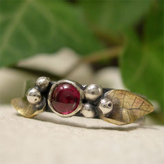 Woodland,Ring,With,Garnet,,Leaves,&,Berries,in,Mixed,Metal,hand made Jewellery, Rings, Bands, hand made sterling silver ring, artisan silver garnet ring, mixed metal ring, red garnet, red stone ring, january birthstone, birthstone ring, leaf leaves ring, berry berries ring, woodland ring, nature jewelry, organic