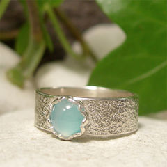 Sea,Blue,Agate,Frosted,Silver,Wide,Band,Gemstone,Ring,hand crafted jewellery, Rings, Statement Rings, blue gemstone ring, frosted silver, sterling silver wide band ring, sea blue agate cabochon, womens ring, artisan jewelry, unique jewelry, hand made ring, cocktail ring, semi precious stone, statement ring