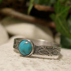 Turquoise,Semi,Precious,Stone,&,Textured,Sterling,Silver,Band,Ring,hand crafted Jewellery, Rings, Solitaire Rings, hand made sterling silver ring, semi precious stone, rustic silver ring, textured silver, silver ring band, unique artisan ring, bohemian jewelry, mens womens ring, vintage style ring, blue stone ring, turqu