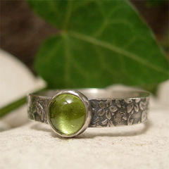 Green,Peridot,Organic,Woodland,Sterling,Silver,Gemstone,Ring,hand crafted Jewellery, Rings, Solitaire Rings, hand made organic silver ring, artisan sterling silver ring, peridot ring, rustic silver ring, woodland texture nature ring band, august birthday, birthstone jewelry, boho ring, bohemian jewelry, vintage sty