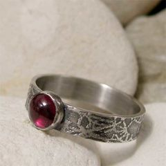 Rustic,Red,Garnet,and,Sterling,Silver,Bohemian,Ring,hand crafted Jewellery, Rings, Solitaire Rings, hand made sterling silver ring, artisan silver garnet ring, semi precious stone, stone ring, red gemstone ring, rustic ring band, organic ring band, january birthday, january birthstone, artisan jewelry, boh