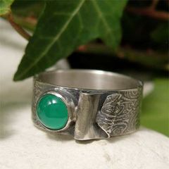 Green,Onyx,Sterling,Silver,Wide,Band,Ring,with,Fold,Back,Detail,hand craftd Jewellery, Rings, Solitaire Rings, hand made green onyx ring, rustic ring, artisan sterling silver ring, wide band ring, semi precious stone gemstone ring, green stone ring, artisan ring, organic jewelry, textured silver, unisex jewelry, patte
