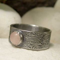 Pink,Rose,Quartz,Wide,Band,Sterling,Silver,Gemstone,Ring,hand craftd Jewellery, Rings, Solitaire Rings, wide band ring, hand made sterling silver ring, artisan gemstone ring, oxidized ring, 8mm band rose quartz ring, round stone ring, rustic ring, hippy ring, pink stone ring, silver bohemian jewelry, hippie jew