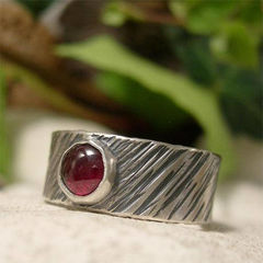 Red,Garnet,Tree,Bark,Wide,Sterling,Silver,Ring,Band,hand crafted Jewellery, Rings, Solitaire Rings, garnet ring, january birthday, hand made sterling silver ring, artisam silver gemstone ring ,oxidized mens ring, rustic ring, red stone ring, natural rugged birthstone jewelry, 8mm wide band ring, gemstone j