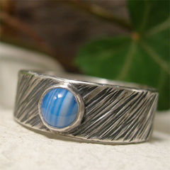 Blue,Banded,Agate,Tree,Bark,Wide,Sterling,Silver,Ring,Band,hand crafted Jewellery, Rings, Solitaire, artisan banded blue agate ring, wide band ring, hand made sterling silver ring, blue stone ring, rustic boho jewelry, hand hammered ring, tree bark texture mens ring, womens silver ring band, rugged hippy r
