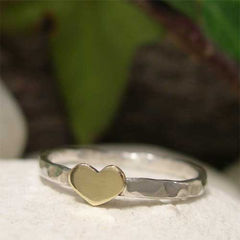 Shiny,Golden,Brass,Heart,Sterling,Silver,Stacking,Ring,hand crafted Jewellery, Rings, Stackable Rings, tiny gold heart ring, dainty ring, hand made sterling silver stacking ring, brass silver ring, mixed metal ring, romantic girlfriend ring, cute minimalist jewelry, golden heart ring, stack stackable ring