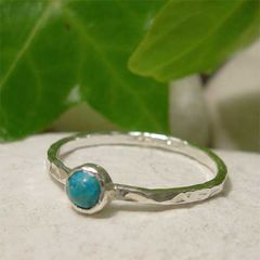 December,Birthstone,Blue,Turquoise,Gemstone,Sterling,Silver,Stacking,Ring,hand crafted Jewellery, Rings, Solitaire Rings, hand made sterling silver ring, turquoise gemstone stack ring, tiny stone ring, december birthstone stacking ring, dainty fashion ring, simple hammered ring band, december birthday, blue stone ring, blue tur