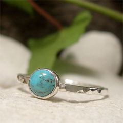 December,Birthstone,Blue,Turquoise,Solitaire,Gemstone,Sterling,Silver,Stack,Ring,hand crafted Jewellery, Rings, Solitaire Rings, hand made sterling silver ring stacking ring, gemstone jewelry, cabochon ring, blue stone ring, solitaire ring, december birthstone, dainty ring, turquoise ring