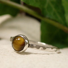 Tigers,Eye,Solitaire,Semi,Precious,Stone,Silver,Stacking,Ring,hand craftedJewellery, Rings, Solitaire Rings, hand made sterling silver stack ring, stacking ring, dainty silver ring, gemstone jewelry, cabochon ring, natural gemstone, semi precious stone hammered silver ring, tigers eye ring, solitaire silver ring gif