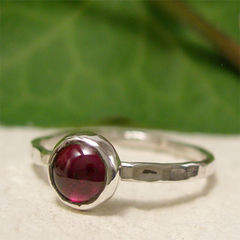 Red,Garnet,January,Birthstone,Solitaire,Sterling,Silver,Stacking,Ring,hand crafted Jewellery, Rings, Solitaire Rings, hand made sterling silver stack ring, stacking ring, natural gemstone solitaire ring, garnet ring, january birthday, birthstone ring, birthstone jewelry, thin silver ring, bezel set ring, red stone ring