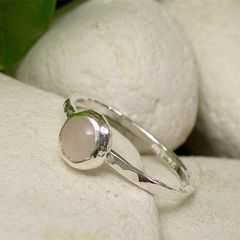 Pink,Rose,Quartz,January,Birthday,Solitaire,Sterling,Silver,Stacking,Ring,hand crafted Jewellery, Rings, Solitaire Rings, hand made sterling stack ring, stacking ring, rose quartz ring, hammered silver ring, love stone ring, pink stone ring, cabochon  gemstone jewelry, january birthstone, romantic ring gift, girlfriend ring, na