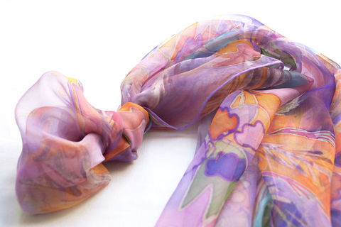 Valeria,lilac,-,Hand,painted,silk,scarf, scarf, painted, hand, arty, artisan, chiffon,pink, lilac, mauve, luxury, gift