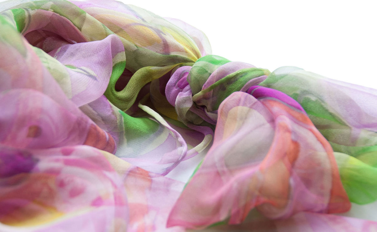 Valeria Pink - Hand painted silk scarf - product images  of