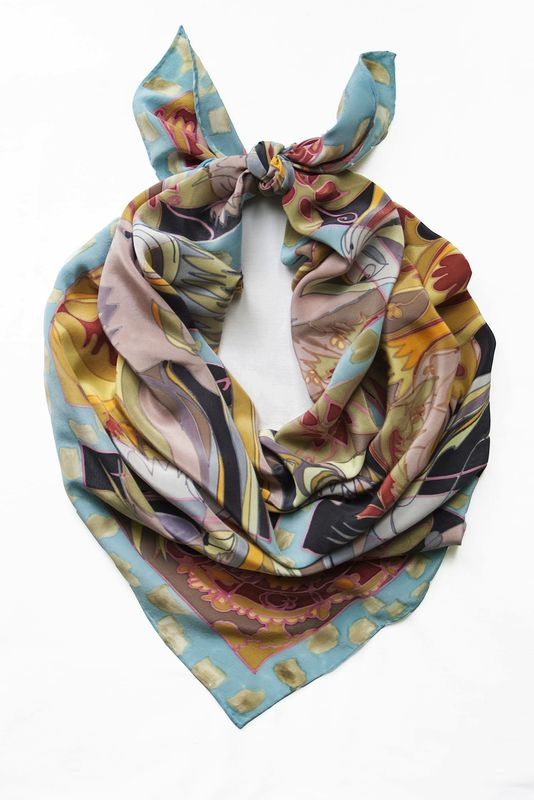 Hand painted silk scarf - Mildred Blue - product images  of