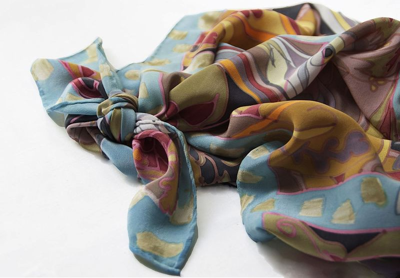 Hand painted silk scarf - Full Square One - product images  of