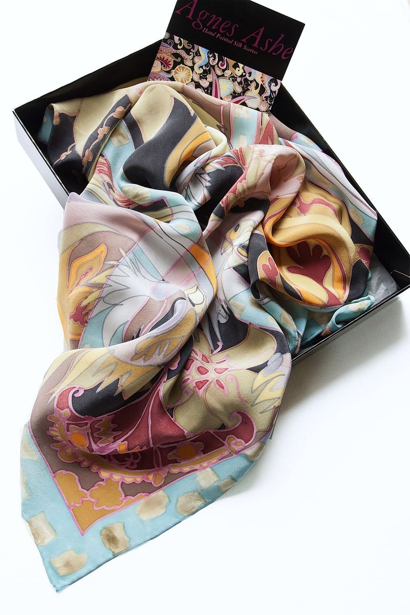 Hand painted silk scarf - Millicent Blue - product images  of