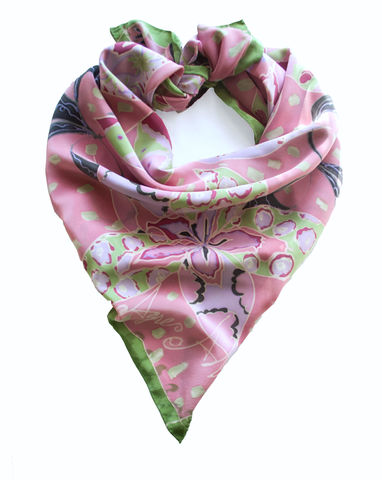 Silvia,clover,pink,-,hand,painted,silk,scarf,hand painted, pink silk, silk scarf, pink, silk, scarf, silk scarves, luxury, gift, gifts for mum, art scarf
