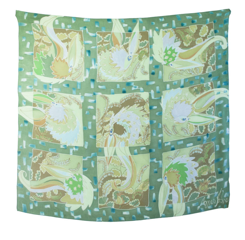Hand painted silk scarf - Mildred Green - product images  of