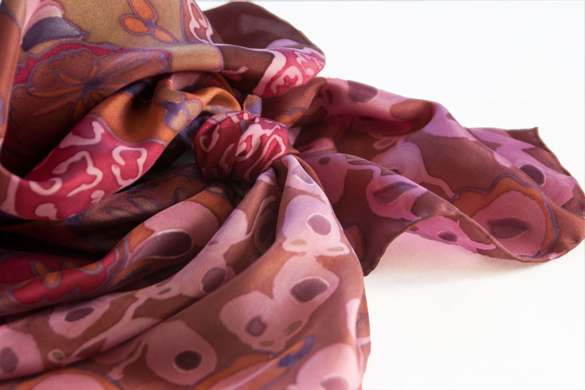 Cora Marron - luxury, twill, patterned designer art scarf - product images  of
