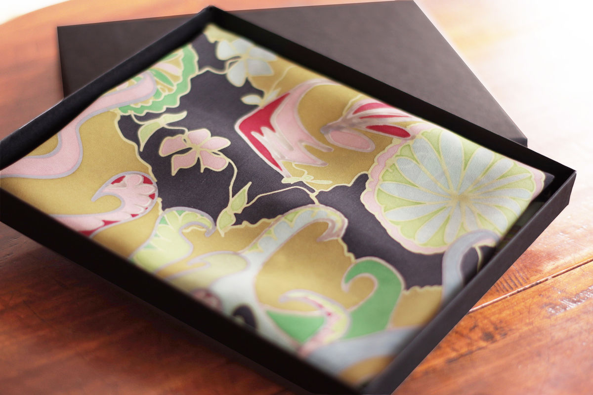 Ophelia Gold - Hand painted silk scarf - product images  of