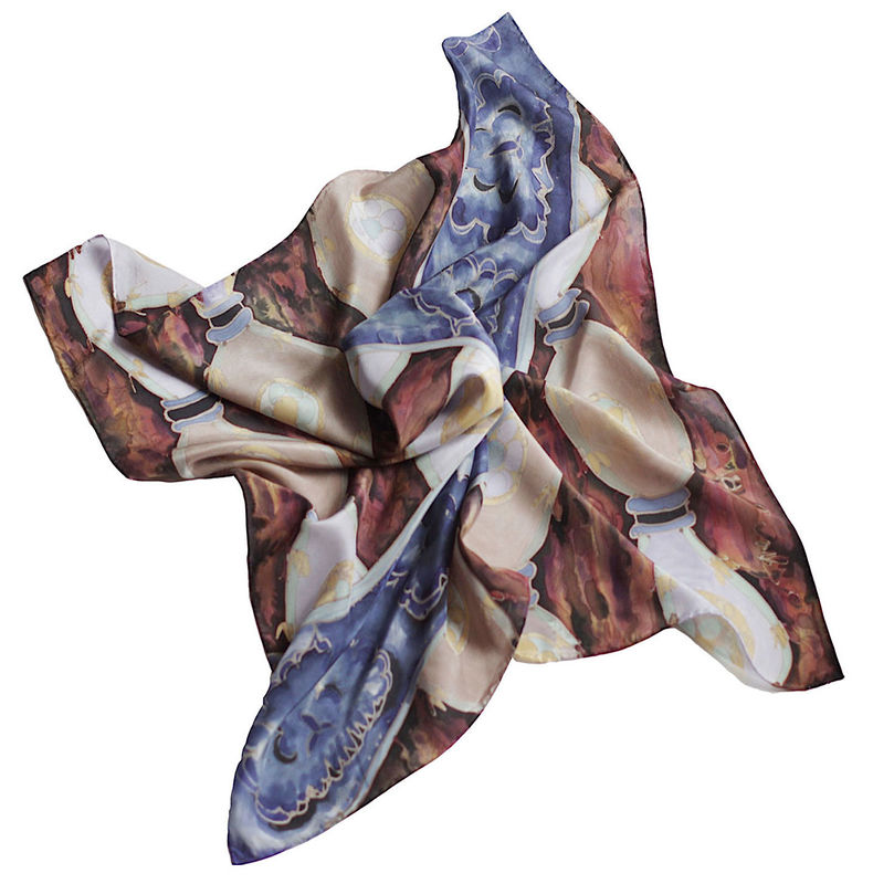 Edlyn Slate - luxury, flat crepe silk, designer art scarf - product images  of