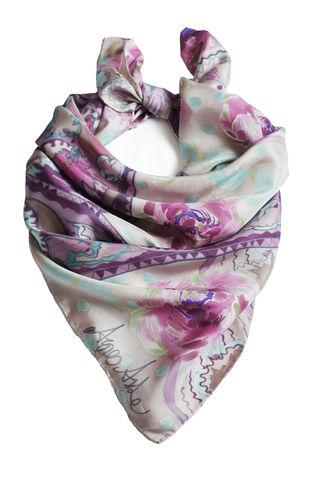 Ettaline,V,Mouse,-,luxury,silk,twill,art,scarf,hand painted silk, silk scarf, art scarf, handmade scarf, silk twill