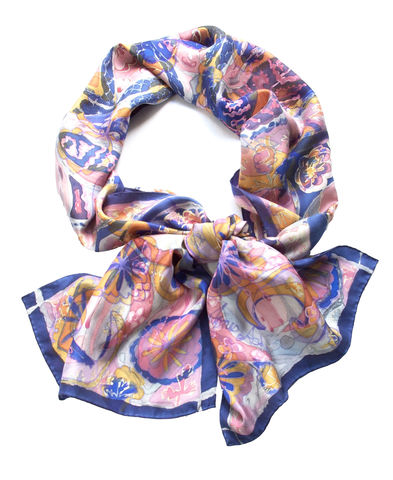 Tudor,Bows,peach,-,Hand,painted,silk,scarf,hand painted silk scarf, silk scarf, peach scarf, blue silk, luxury scarf, art scarf