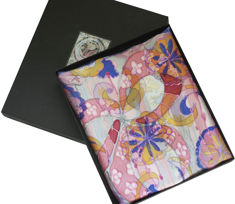 Tudor Bows peach - Hand painted silk scarf - product images  of