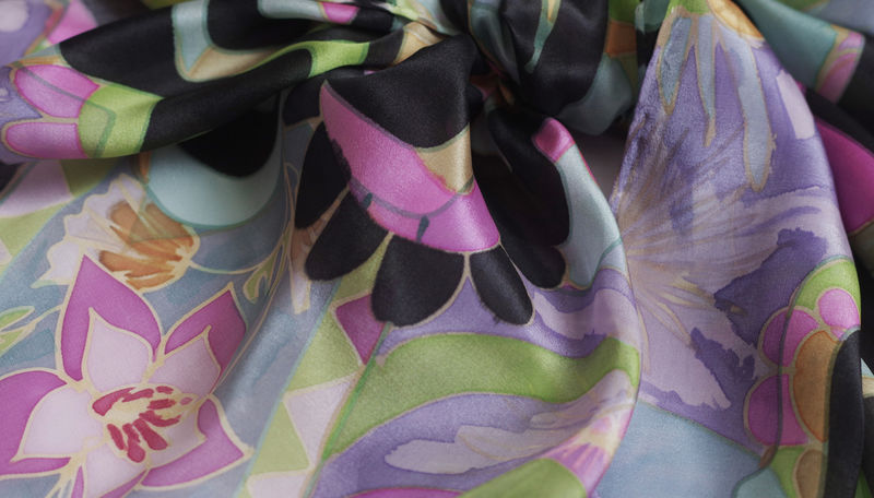 La Donna Lilac - Hand painted silk scarf - product images  of