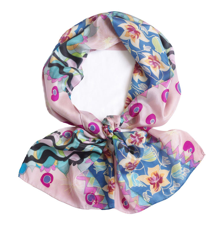 La Donna Pink - Hand painted silk scarf - product images  of