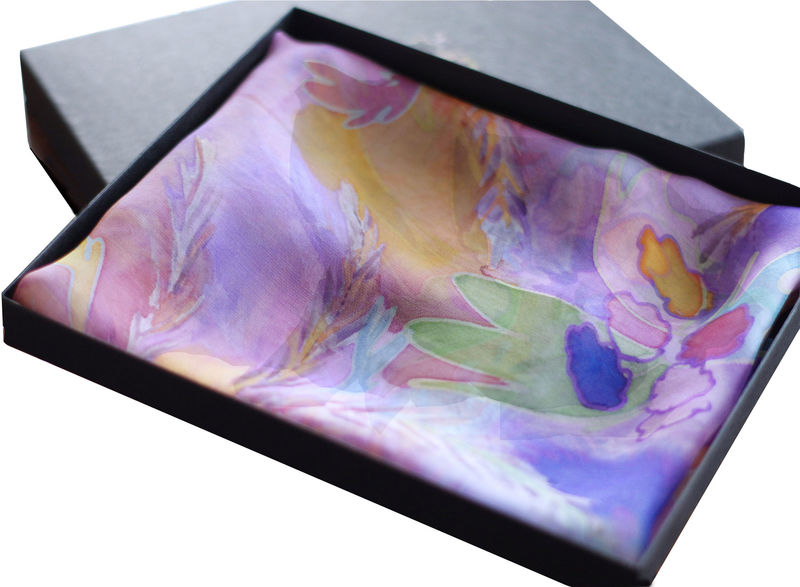 Valeria lilac - Hand painted silk scarf - product images  of
