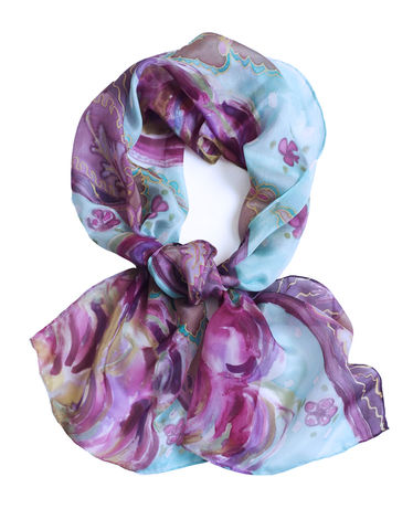 Ettaline,III,-,hand,painted,long,crepe,de,chine,hand painted, turquoise, silk scarf, designer scarf, turquoise silk, silk, scarf, crepe de chine