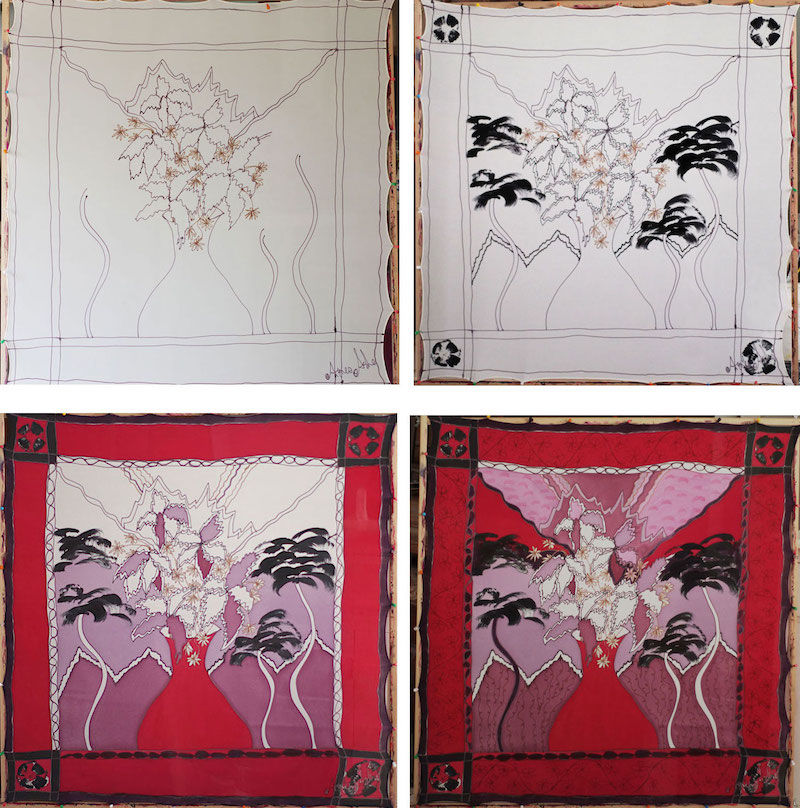 Lisette Red - luxury hand painted crepe de chine square - product images  of