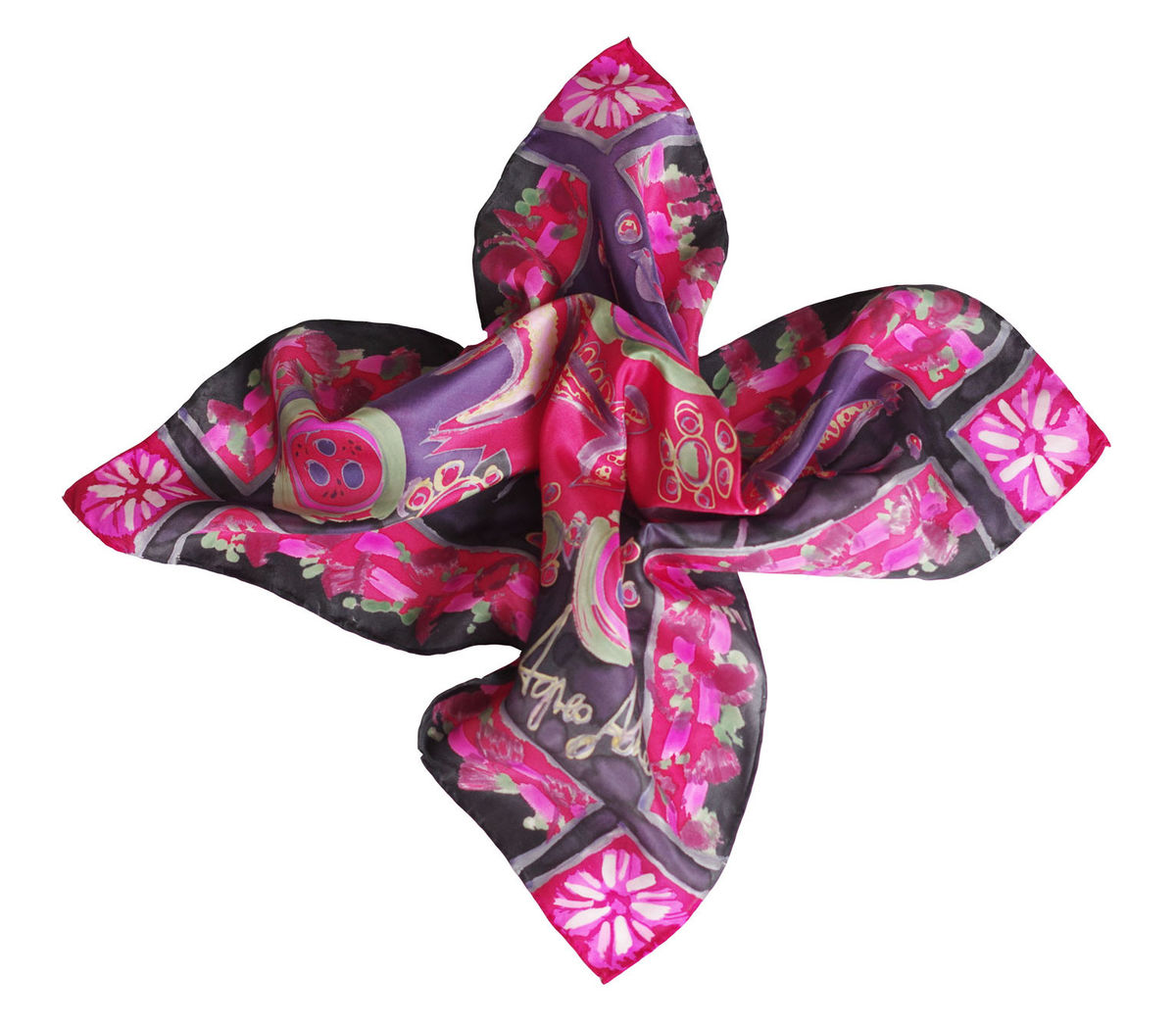 Freckeda Carmine - Hand painted silk neckerchief  - product images  of