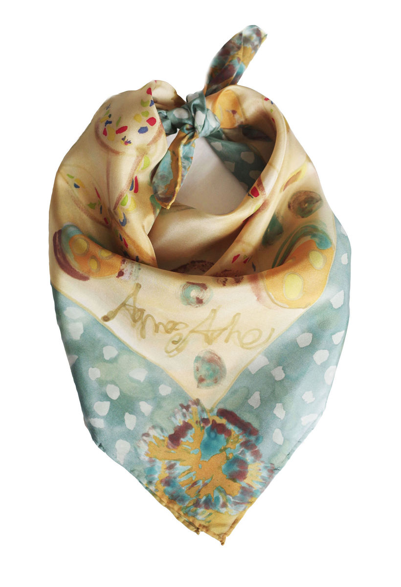 Freckeda Golden - Hand painted silk neckerchief  - product images  of