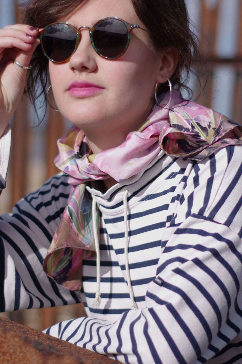 Maud Pink - luxury, twill, floral designer art scarf - product images  of