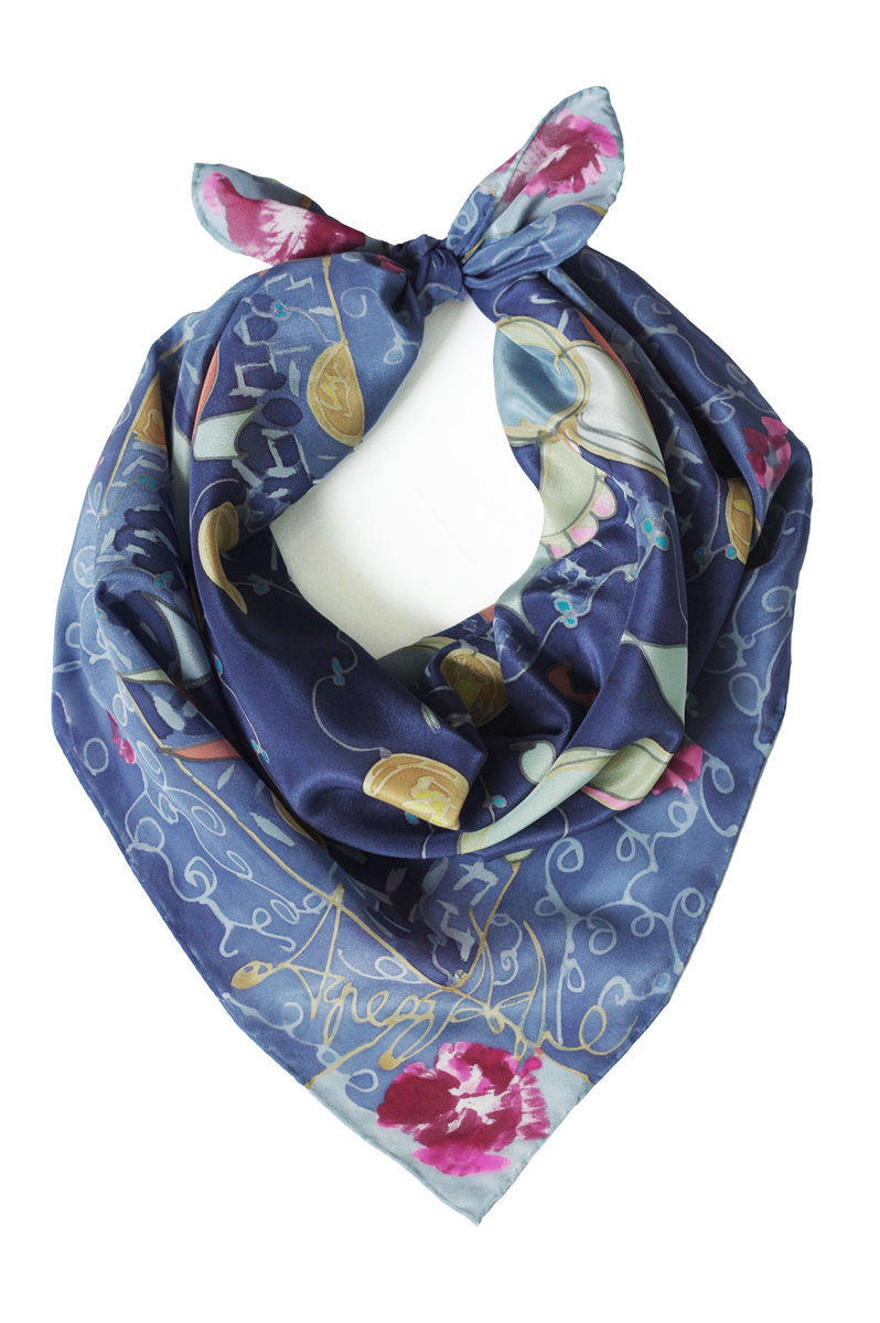 Wilda Ink Blue - hand painted silk scarf - product images  of