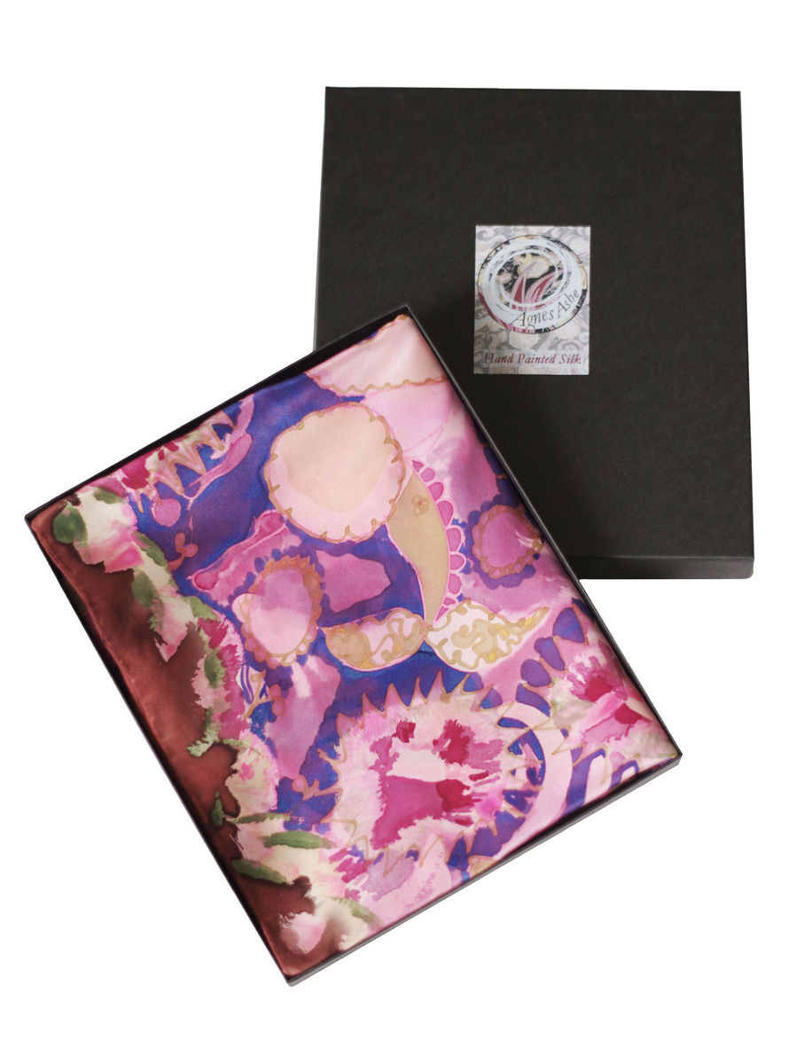 Wilda Rose - hand painted silk scarf - product images  of