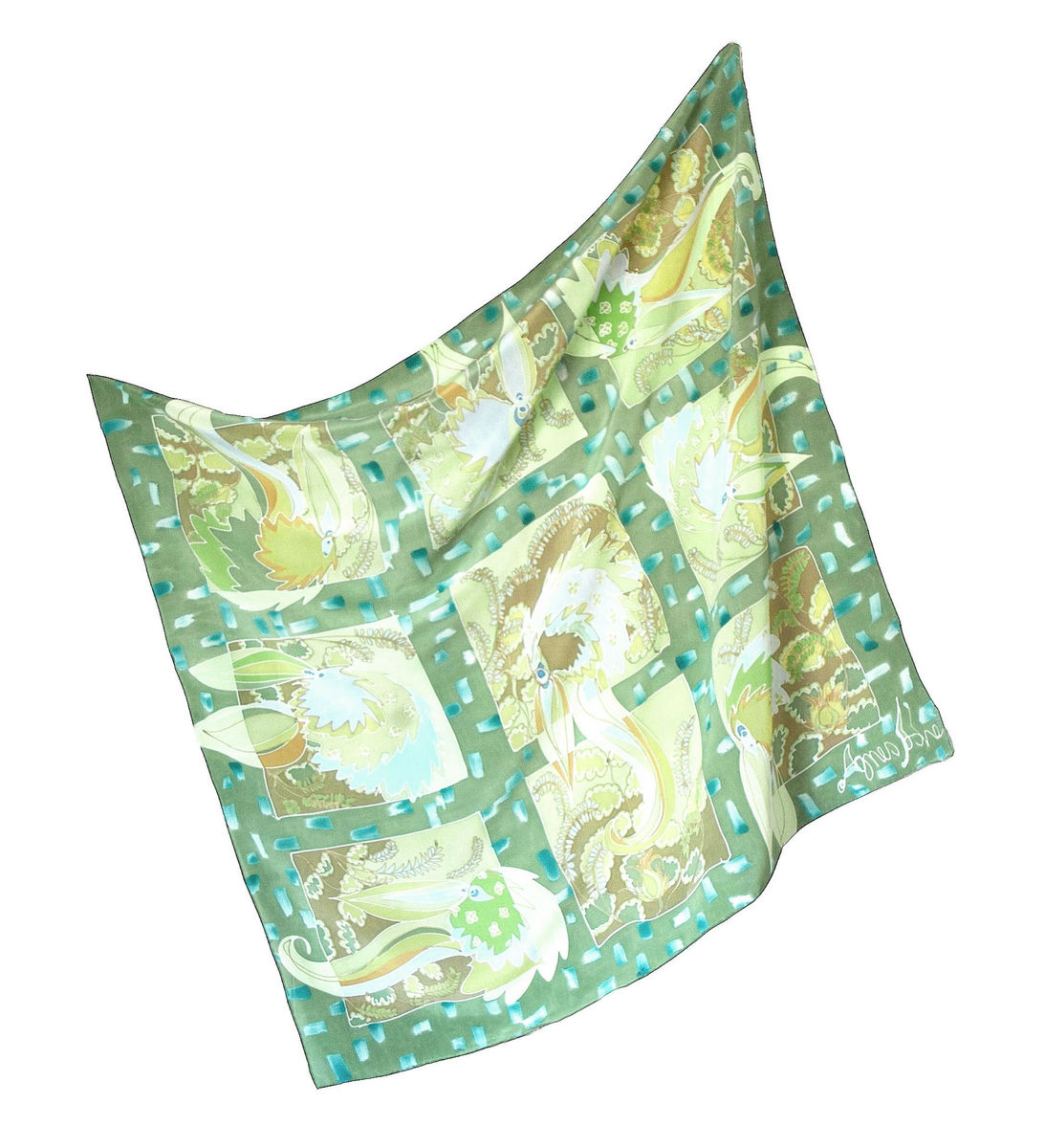 Hand painted silk scarf - Millicent Green - product images  of