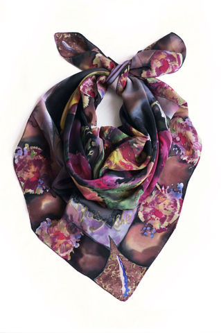Florette,hand painted, silk scarf, designer scarf, silk, scarf, crepe de chine, black, red, purple, yellow, suffolk craft