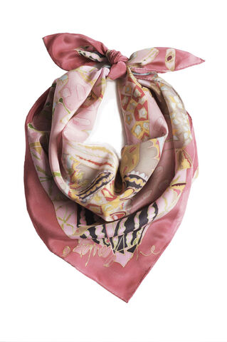 Berenice,Clover,-,hand,painted,silk,scarf,Agnes Ashe, hand painted silk, silk scarf, clover, pink, flat crepe, birthday gift, soft silk