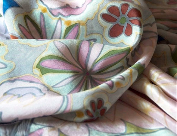 Venetia Pink - Hand painted silk scarf - product images  of