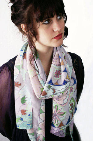 Venetia,Pink,-,Hand,painted,silk,scarf,hand painted, silk scarf, pink silk scarf, painted silk, crepe de chine, luxury