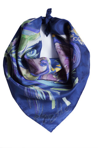Acacia,I,-,Hand,painted,silk,neckerchief,hand painted silk scarf, handmade silk scarf, silk bandana, blue neckerchief, painted silk, navy silk