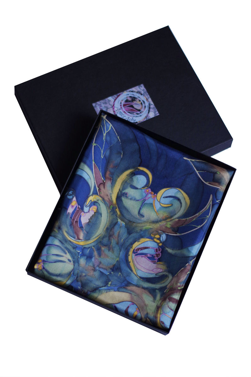 Acacia II - Hand painted silk neckerchief  - product images  of