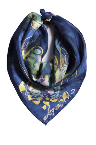Acacia,II,-,Hand,painted,silk,neckerchief,hand painted silk scarf, handmade silk scarf, silk bandana, blue neckerchief, painted silk, navy silk