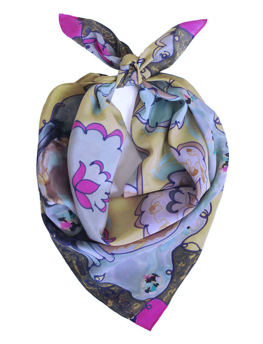 Edlyn Pearl - flat crepe silk, designer art scarf - product images  of