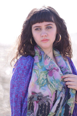 Florella,Long,hand painted silk scarf, pink silk scarf, luxury gift, floral silk scarf, pink, green, black, Agnes Ashe