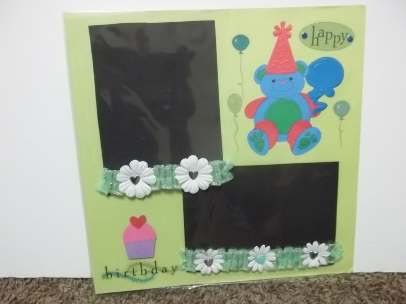Childs Happy birthday premade scrapbook page - product images