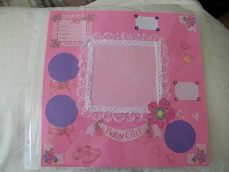 Baby girl welcome scrapbook page - product images